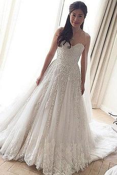 Lange Natürliche Taille A-Linie Sittsame Luxus Frühling Brautkleid