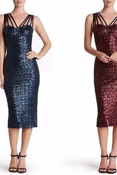 Sternenhimmel Pailletten Natürliche Taille Wadenlang Pailletten-Kleid