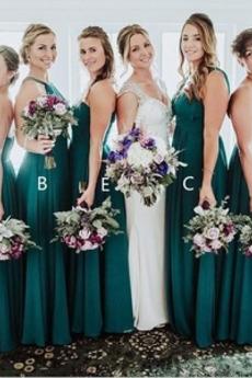 Ärmellos Elegant Mittelgröße Plissiert Herbst A-Linie Brautjungfernkleid