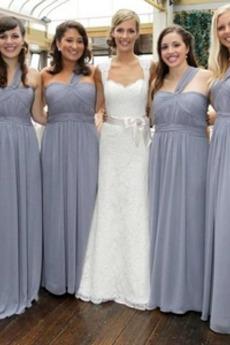 Ein Schulter Elegant Reißverschluss Sweep Zug Sommer Brautjungfernkleid