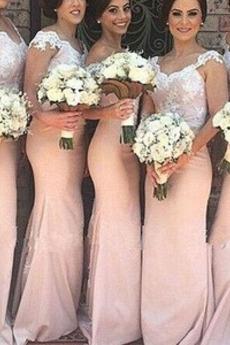 Natürliche Taille Reißverschluss Stickerei Lange Schulterfrei Etui Brautjungfernkleid