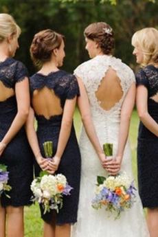 Etui Natürliche Taille Gekappte Ärmel Elegant Spitze Brautjungfernkleid