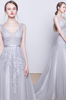 Umgedrehtes Dreieck Stickerei Schick Natürliche Taille Brautjungfernkleid