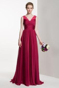 Elegant Natürliche Taille Winter Reißverschluss Plissiert Brautjungfernkleid