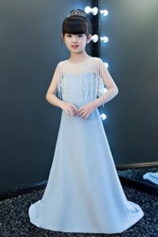 Schick Satin Natürliche Taille Bördeln Juwel A-Linie Blumenmädchenkleid