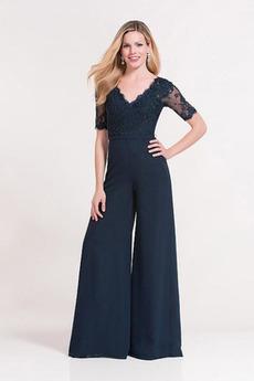 Spitze Spitzen-Overlay Durchsichtige Ärmel Knöchellang Hosenanzug Kleid