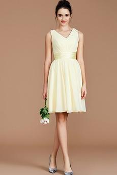 Falte Mieder Hoch Überdachte Ärmellos Drapierung Schlicht Brautjungfernkleid