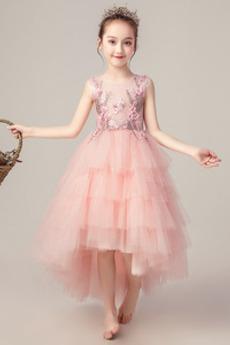Asymmetrisch Luxus Mittelgröße Blume Durchsichtige Juwel Blumenmädchenkleid