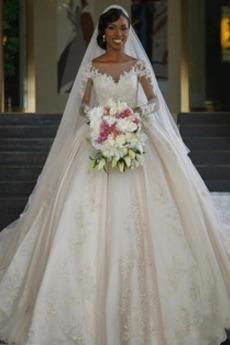 Formell Kirche Lange Durchsichtige Ärmel Lange Ärmel Brautkleid