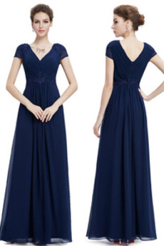 Kurze Ärmel V-Ausschnitt Mittelgröße Stickerei Chiffon Abendkleid