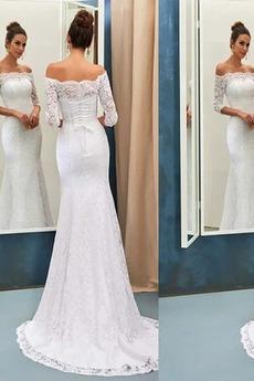 Kleine Größe Natürliche Taille Spitze Spitze Lange Elegant Brautkleid