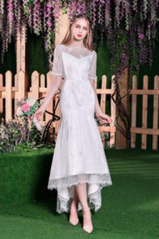Natürliche Taille Kurze Ärmel Mittelgröße Wadenlang Frühling Brautkleid