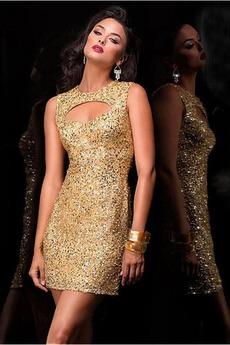 Natürliche Taille Reißverschluss Ärmellos Mittelgröße Sexy Juwel Pailletten-Kleid