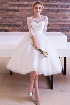 Brautkleid Reißverschluss Sommer Spitze T-Shirt Knielang sieben Ärmellänge