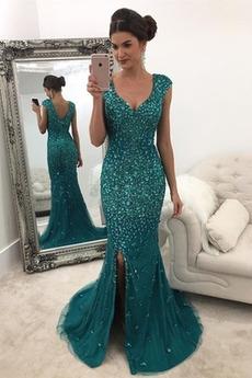 Tüll Ärmellos Natürliche Taille Bodenlang Meerjungfrau Abendkleid