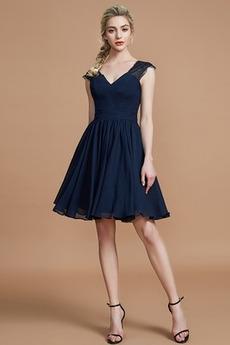 V-Ausschnitt Natürliche Taille Luxus Ärmellos Chiffon A-Linie Brautjungfernkleid