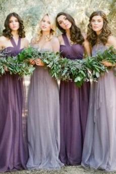 Trägerlos Bodenlang edel Falte Mieder Natürliche Taille Brautjungfernkleid