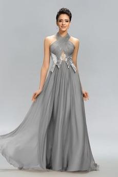 Natürliche Taille Elegant Nackenband Chiffon A-Linie Abendkleid