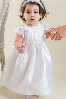 Applike Kleine Größe Formell Satin Juwel Laterne Ärmel Taufe Kleid