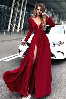 Natürliche Taille Tiefer V-Ausschnitt Kleine Größe Winter A-Linie Abendkleid