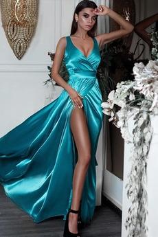 Drapierung V-Ausschnitt Sexy Mittelgröße Bodenlang Ärmellos Abendkleid