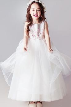 Knöchellang Juwel Mittelgröße Tüll Natürliche Taille A-Linie Blumenmädchenkleid