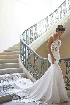 Meerjungfrau Durchsichtige Sweep Zug Reißverschluss Brautkleid
