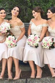Ärmellos Satin Wadenlang Schulterfrei Elegant A-Linie Brautjungfernkleid