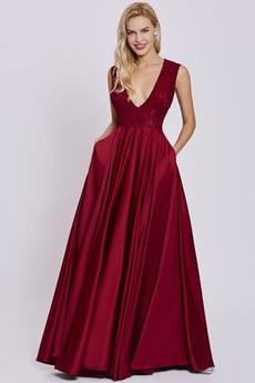 Spitzen-Overlay Ärmellos A-Linie Natürliche Taille Spitze Abendkleid