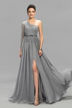Vorne Geschlitzt Natürliche Taille Asymmetrische Ärmel Chiffon Abendkleid