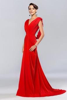 Mittelgröße Ärmellos Rückenfrei V-Ausschnitt Herbst Abendkleid