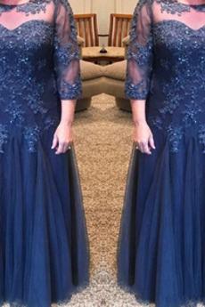 Brautmutterkleid Juwel Natürliche Taille Bodenlang Formell Spitzen-Overlay