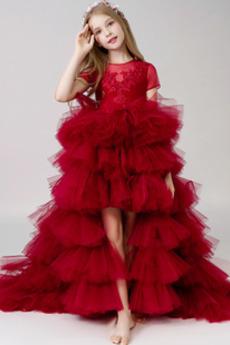 Geschichtet Elegant Mittelgröße Asymmetrisch Frühling Juwel Blumenmädchenkleid