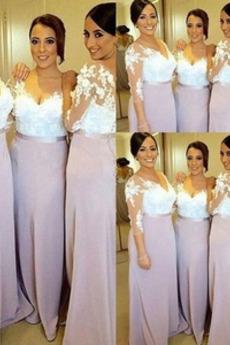 Elegant Durchsichtige Ärmel Mittelgröße Spitzen-Overlay Brautjungfernkleid