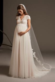 Brautkleid Schwangere Gekappte Ärmel Outdoor Luxus Lange Schlüsselloch Rücken