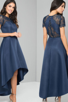 Glamouröse Hoch Niedrig Spitzen-Overlay Asymmetrisch Abendkleid