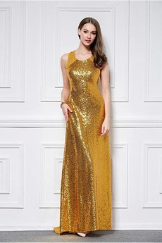 Hoch Überdachte Juwel Natürliche Taille Birneförmig Pailletten-Kleid