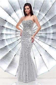 Sternenhimmel Frühling Bodenlang Ärmellos Pailletten Pailletten-Kleid