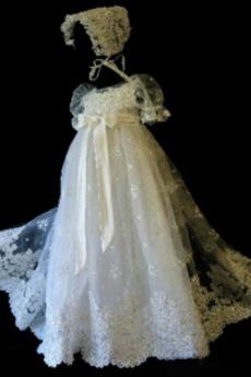 Hoch Überdachte Formell Prinzessin Kleine Größe Lange Taufe Kleid