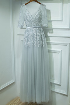 Sommer A-Linie Rückenfrei Durchsichtige Ärmel Tüll Brautjungfernkleid