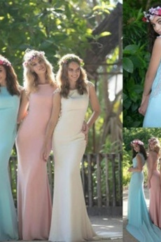 Natürliche Taille Lange Rückenfrei Stickerei Formell Brautjungfernkleid