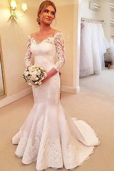 Mittelgröße Tiefer V-Ausschnitt Meerjungfrau Lange Ärmel Brautkleid