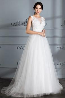 Natürliche Taille Elegant Frühling Sweep Zug Spitze Brautkleid