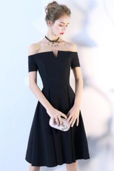 Umgedrehtes Dreieck T-Shirt Natürliche Taille Kurze Ärmel A-Linie Cocktailkleid