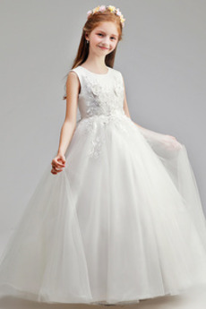 Juwel Mittelgröße Swing Rosendekor Tüll A-Linie Blumenmädchenkleid