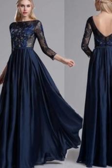 Spitzen-Overlay Bodenlang Durchsichtige Ärmel A-Linie Abendkleid