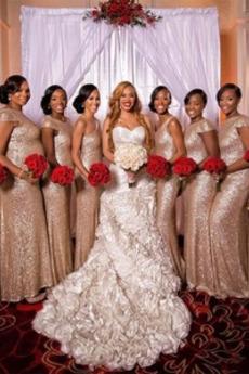 Umgedrehtes Dreieck Natürliche Taille Reißverschluss Brautjungfernkleid