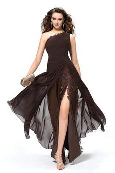 Ein Schulter Spitze Split vorne Mitte Rücken Herbst Abendkleid