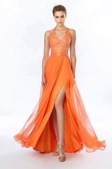 Spitzen-Overlay Perlengürtel Bodenlang Mittelgröße Elegant Abendkleid