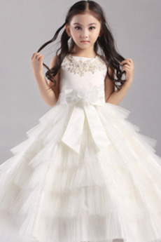 Ärmellos Juwel Mittelgröße A-Linie Satin Reißverschluss Blumenmädchenkleid